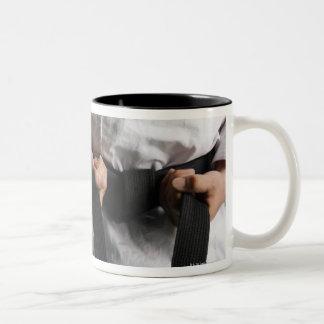 Taekwondo Fighter Tightening Belt Two-Tone Coffee Mug