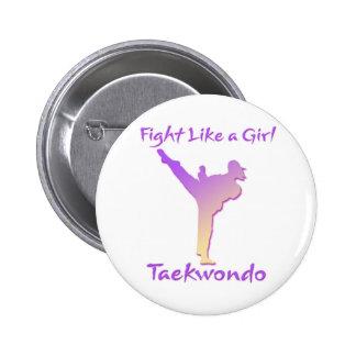 Taekwondo Girl Pinback Button