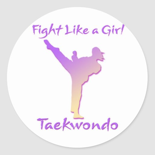 Taekwondo Girl Round Sticker