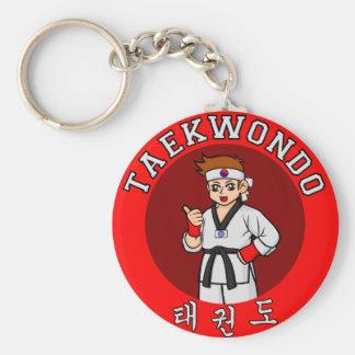 taekwondo guy badge 1 keychain