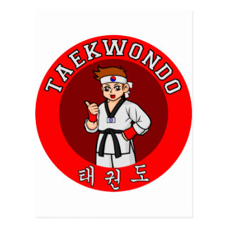 taekwondo guy badge 1 postcard