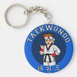 taekwondo guy badge key chains