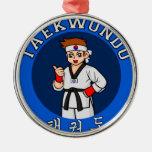 taekwondo guy badge Silver-Colored round decoration