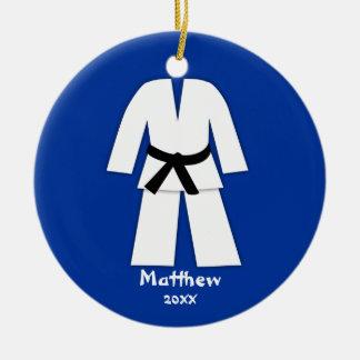 Taekwondo Karate Black Belt Blue Personalized Double-Sided Ceramic Round Christmas Ornament