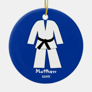 Taekwondo Karate Black Belt Blue Personalized Double-Sided Ceramic Round Christmas Ornament