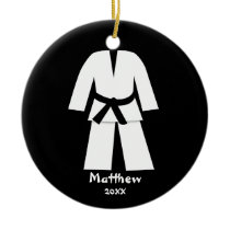 Taekwondo Karate Black Belt Personalized Ceramic Ornament