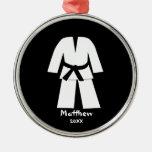 Taekwondo Karate Black Belt Personalized Christmas Tree Ornament