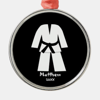 Taekwondo Karate Black Belt Personalized Metal Ornament