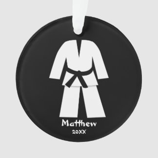 Taekwondo Karate Black Belt Personalized Ornament