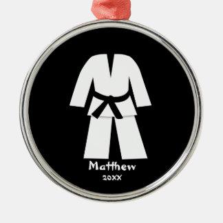 Taekwondo Karate Black Belt Personalized Round Metal Christmas Ornament