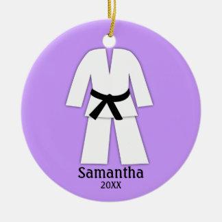 Taekwondo Karate Black Belt Purple Personalized Double-Sided Ceramic Round Christmas Ornament