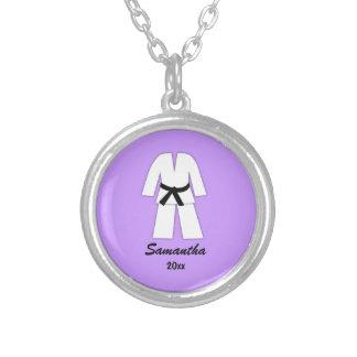 Taekwondo Karate Black Belt Purple Personalized Silver Plated Necklace
