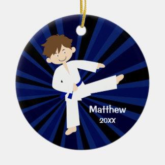 Taekwondo Karate Blue Belt Boy Personalized Ceramic Ornament