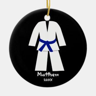 Taekwondo Karate Blue Belt Personalized Double-Sided Ceramic Round Christmas Ornament