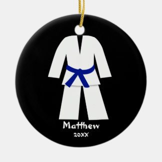 Taekwondo Karate Blue Belt Personalized Ornament