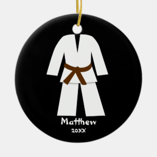 Taekwondo Karate Brown Belt Personalized Ceramic Ornament
