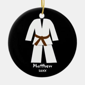 Taekwondo Karate Brown Belt Personalized Double-Sided Ceramic Round Christmas Ornament