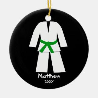 Taekwondo Karate Green Belt Personalized Double-Sided Ceramic Round Christmas Ornament