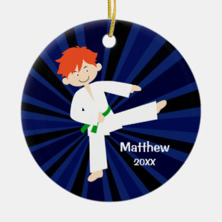 Taekwondo Karate Green Belt Red Boy Personalized Christmas Ornament