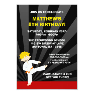 Taekwondo Karate Orange Belt Birthday Invitations