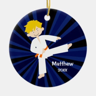Taekwondo Karate Orange Belt Boy Personalized Christmas Tree Ornament