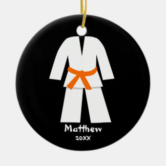 Taekwondo Karate Orange Belt Personalized Ceramic Ornament