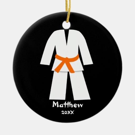 Taekwondo Karate Orange Belt Personalized Double-sided Ceramic Round Christmas Ornament