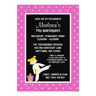 Taekwondo Karate Pink Stars Blonde Girl Birthday 5x7 Paper Invitation Card
