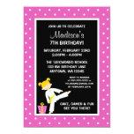 Taekwondo Karate Pink Stars Blonde Girl Birthday Personalized Announcement