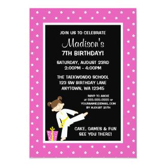 Taekwondo Karate Pink Stars Girl Birthday 5x7 Paper Invitation Card