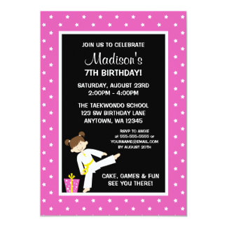 Taekwondo Karate Pink Stars Girl Birthday Card