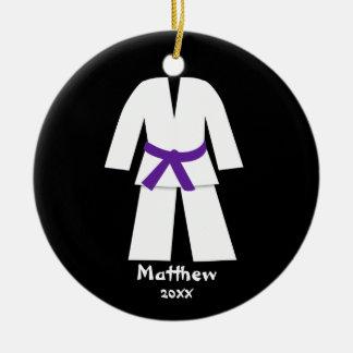 Taekwondo Karate Purple Belt Personalized Christmas Tree Ornaments