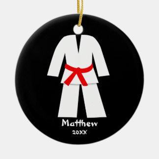 Taekwondo Karate Red Belt Personalized Christmas Tree Ornaments