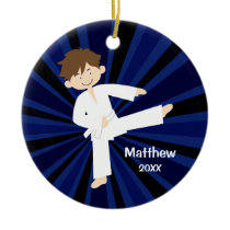 Taekwondo Karate White Belt Boy Personalized Ceramic Ornament