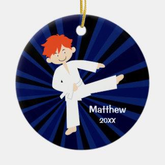 Taekwondo Karate White Belt Red Boy Personalized Christmas Tree Ornament