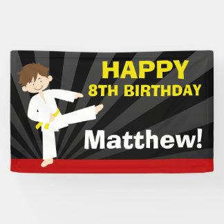 Taekwondo Karate Yellow Belt Boy Birthday Banner