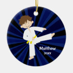 Taekwondo Karate Yellow Belt Boy Personalized Double-Sided Ceramic Round Christmas Ornament