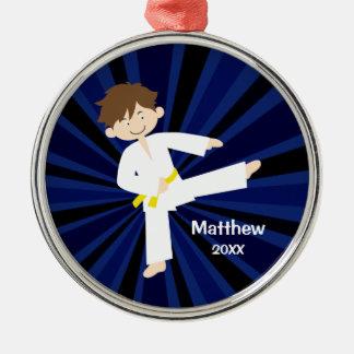 Taekwondo Karate Yellow Belt Boy Personalized Metal Ornament