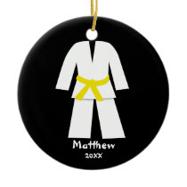 Taekwondo Karate Yellow Belt Personalized Ceramic Ornament