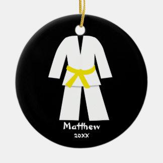Taekwondo Karate Yellow Belt Personalized Ceramic Ornament