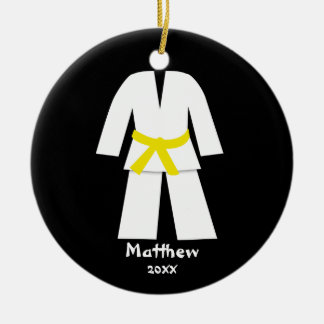Taekwondo Karate Yellow Belt Personalized Double-Sided Ceramic Round Christmas Ornament