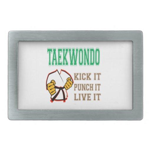 Taekwondo Kick it, Punch it, Live it Rectangular Belt Buckle