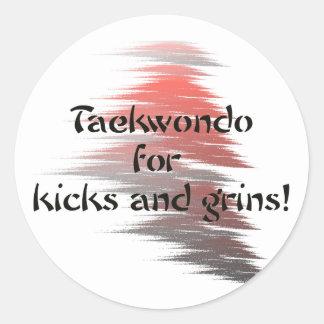 Taekwondo Kicks and Grins Round Stickers