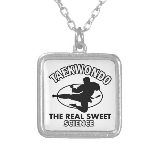 Taekwondo martial arts designs square pendant necklace