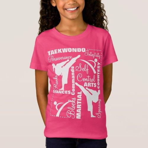 Taekwondo Martial Arts Terminology Typography T_Shirt