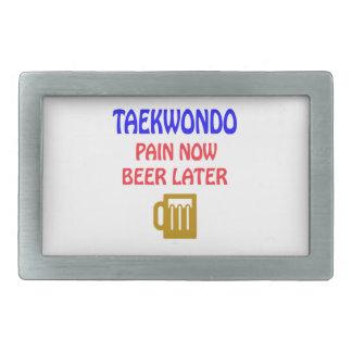 Taekwondo pain now beer later rectangular belt buckles