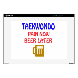 """Taekwondo pain now beer later 15"""" laptop decals"""