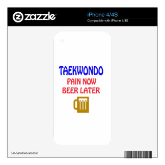 Taekwondo pain now beer later decals for the iPhone 4