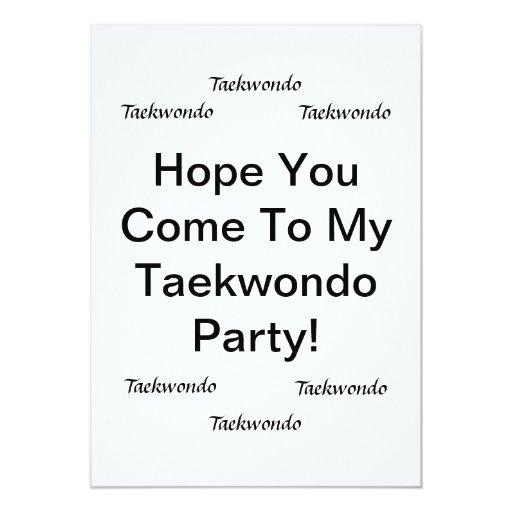 Taekwondo Party Cards Custom Invitation