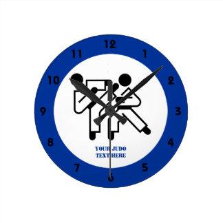 Taekwondo practitioners black silhouettes icon round clocks